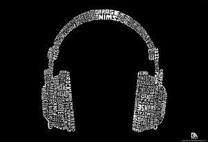 Headphones Music Genres Text Poster