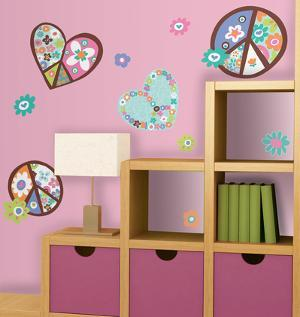 Heart & Flower Peace Signs Peel & Stick Wall Decals