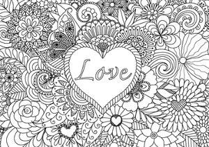 Heart on Flowers for Coloring Books for Adult or Valentines Card