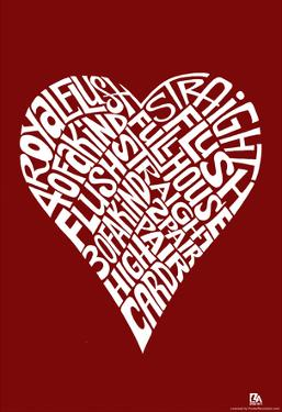 Heart Poker Hands Text Poster