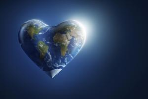 Heart-Shaped Planet Earth on a Dark Blue Background