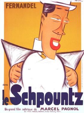 HEARTBEAT, (aka LE SCHPOUNTZ), French poster, Fernandel, 1938