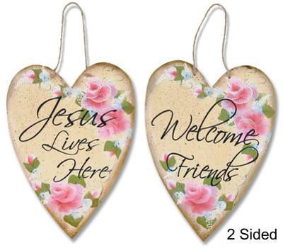 Hearts And Roses Two-Sided Welcome Plaque