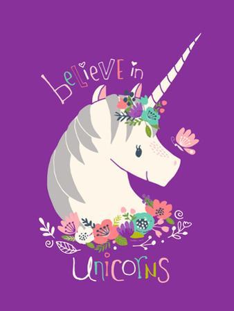 Believe in Unicorns on Purple by Heather Rosas