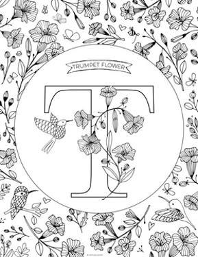 T is for Trumpet Flower by Heather Rosas