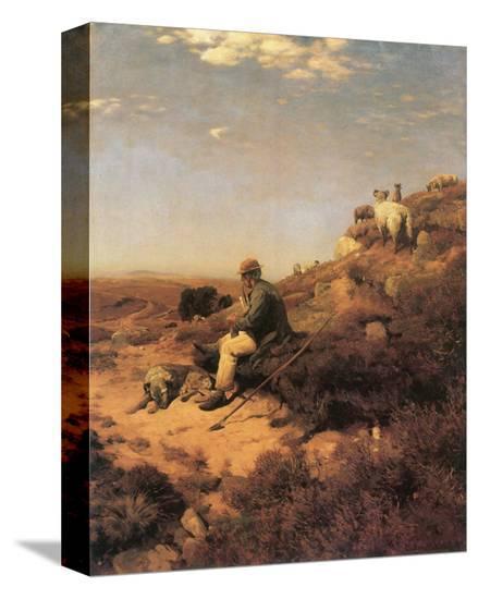 Heathland Shepherd-Eugen Bracht-Stretched Canvas Print