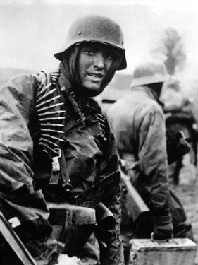Heavily Armed German Soldiers Advancing in Belgium Through Thin American Lines