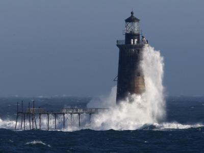 Heavy Surf Slams into the 72-Foot-Tall Ram Island Ledge Light