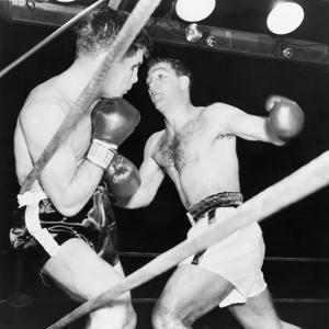Heavyweight Champion Rocky Marciano (Right) Backs Roland Lastarza Against the Ropes