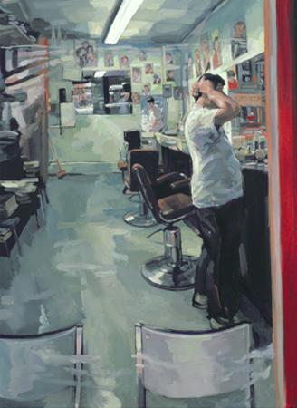 Barber Shop, 1989 by Hector McDonnell
