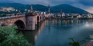 Heidelberg Castle and Old Bridge, Neckar River, Heidelberg, Baden-Wurttemberg, Germany