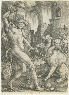 Hercules Chains Cerberus, 1550 by Heinrich Aldegrever