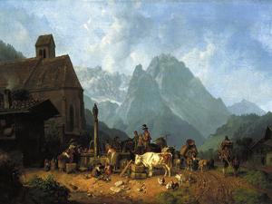 Village Well by Heinrich Burkel