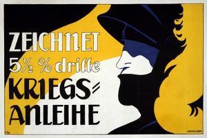 Zeichnet 5 1/2% Dritte Kriegs-Anleihe, Pub. 1917 by Heinrich Lefler