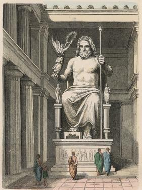 Zeus statue in the temple at Olympia - Sculpture by Phidias by Heinrich Leutemann