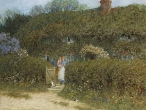 A Cottage at Freshwater, Isle of Wight (Watercolour and Bodycolour Heightened with Scratching Out) by Helen Allingham