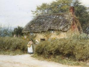 A Thatched Cottage Near Peaslake, Surrey by Helen Allingham