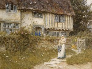 Beside the Old Church Gate Farm, Smarden, Kent (Watercolour with Scratching Out) by Helen Allingham