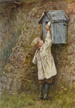 Boy Stretches to Post a Letter in the Box at Bowler's Green Surrey by Helen Allingham