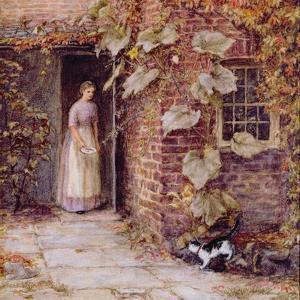 Feeding the Kitten by Helen Allingham