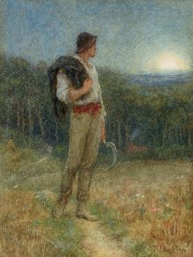 Harvest Moon, 'Globed in Mellow Splendour', 1879 by Helen Allingham