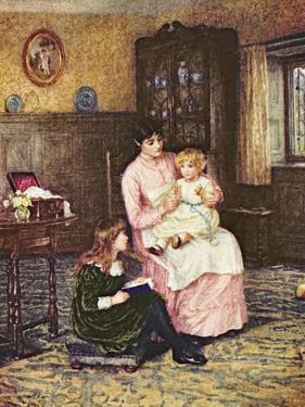 Mother Playing with Children in an Interior by Helen Allingham
