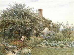 Near Hambledon (Watercolour Heightened with Bodycolour and Scratching Out) by Helen Allingham