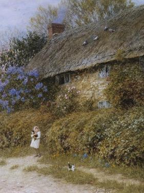 Old Cottage at Freshwater, Isle of Wight (Watercolour with Scratching Out) by Helen Allingham