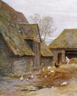 The Farmer's Wife Feeds Her Poultry in a Kent Farmyard by Helen Allingham