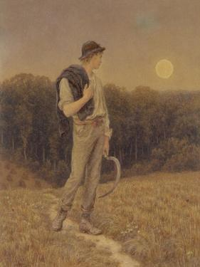 The Harvest Moon, 'Globed in Mellow Splendour', 1879 (W/C and Gouache on Paper) (See also 283763) by Helen Allingham