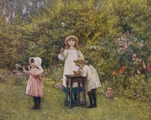 Three Smocked Youngsters Blow Bubbles from a Dish of Soap Suds by Helen Allingham