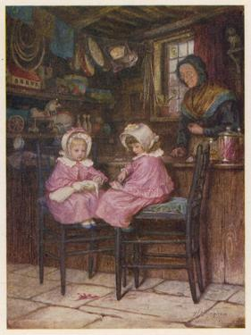 Two Little Girls Dressed in Pink Outfits Sit at the Counter of a Toy and Sweet Shop by Helen Allingham