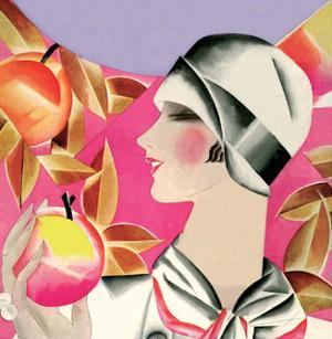 Art Deco Woman with Apples by Helen Dryden