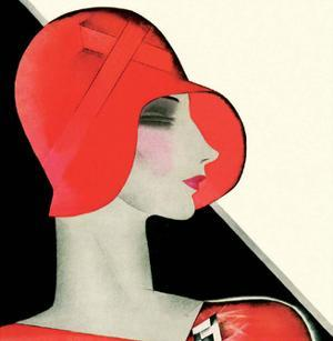 Art Deco Woman with Red Hat by Helen Dryden
