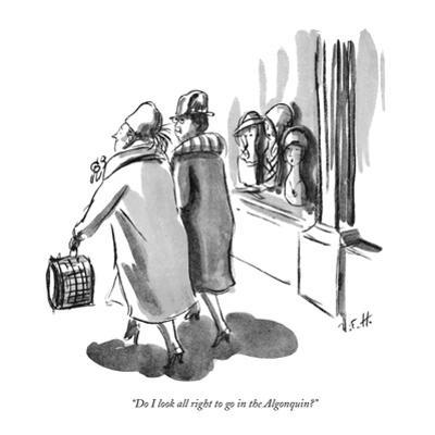"""Do I look all right to go in the Algonquin?"" - New Yorker Cartoon by Helen E. Hokinson"