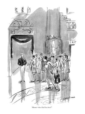 """Mama—does God live here?"" - New Yorker Cartoon by Helen E. Hokinson"