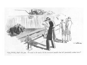 """See, Willie, that's the gnu. He used to be used a lot in crossword puzzle…"" - New Yorker Cartoon by Helen E. Hokinson"