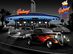 Galaxy Diner - Black and White by Helen Flint