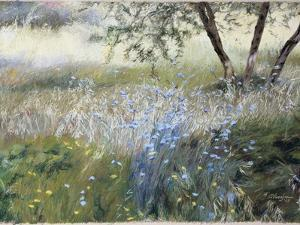Field with Blue Flowers by Helen J^ Vaughn