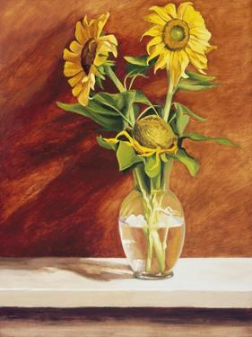 Sunflowers in a Glass Bowl by Helen J^ Vaughn