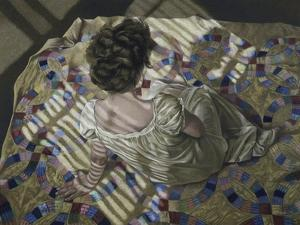 Woman Seated on a Quilt, c.1990 by Helen J^ Vaughn