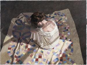 Woman Sitting on a Quilt by Helen J^ Vaughn