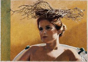 Woman Wearing a Nest by Helen J^ Vaughn