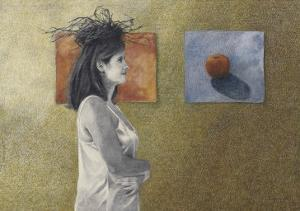Woman with a Nest on Her Head, c.1999 by Helen J^ Vaughn