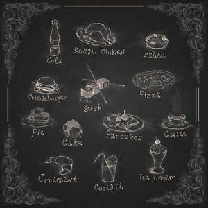 Design Elements for the Menu on the Chalkboard by HelenStock