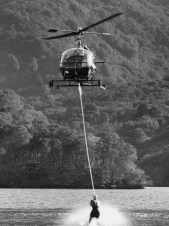 Helicopter Being Used for Ski-Towing