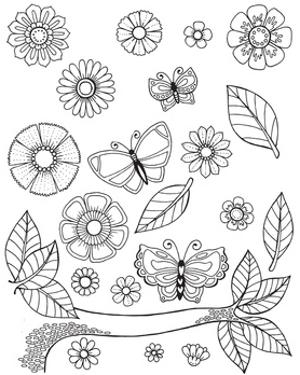 Flowers Butterflies and Leaves by Hello Angel