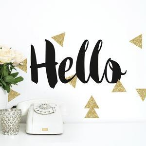 Hello Quote W/ Glitter Triangles Peel And Stick Wall Decals