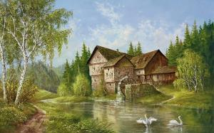Mill With Swans by Helmut Glassl