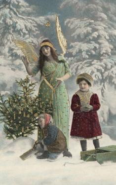 Helpful Angel Accompanies Two Children into the Woods to Help Them Choose Their Tree